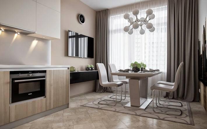 серые тона в дизайне интерьера большой кухни фото