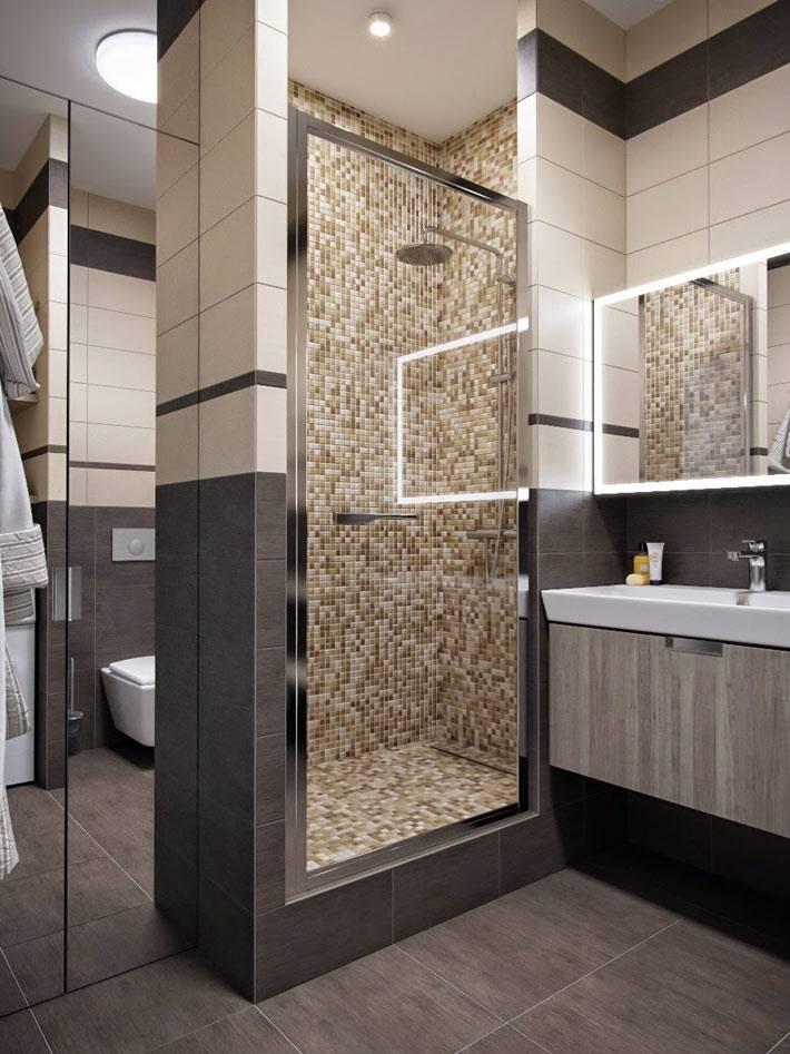 коричневая кафельная плитка-мозаика в душевой кабине фото