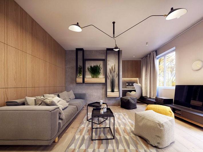 креативный светильник в интерьере гостиной