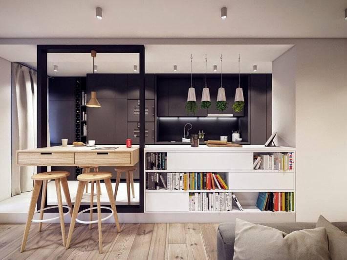 интерьер кухни с интересной перегородкой фото