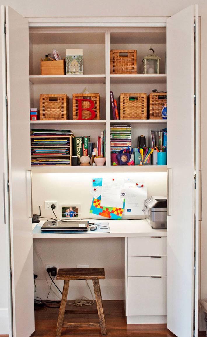 домашний комнактный офис в шкафу фото