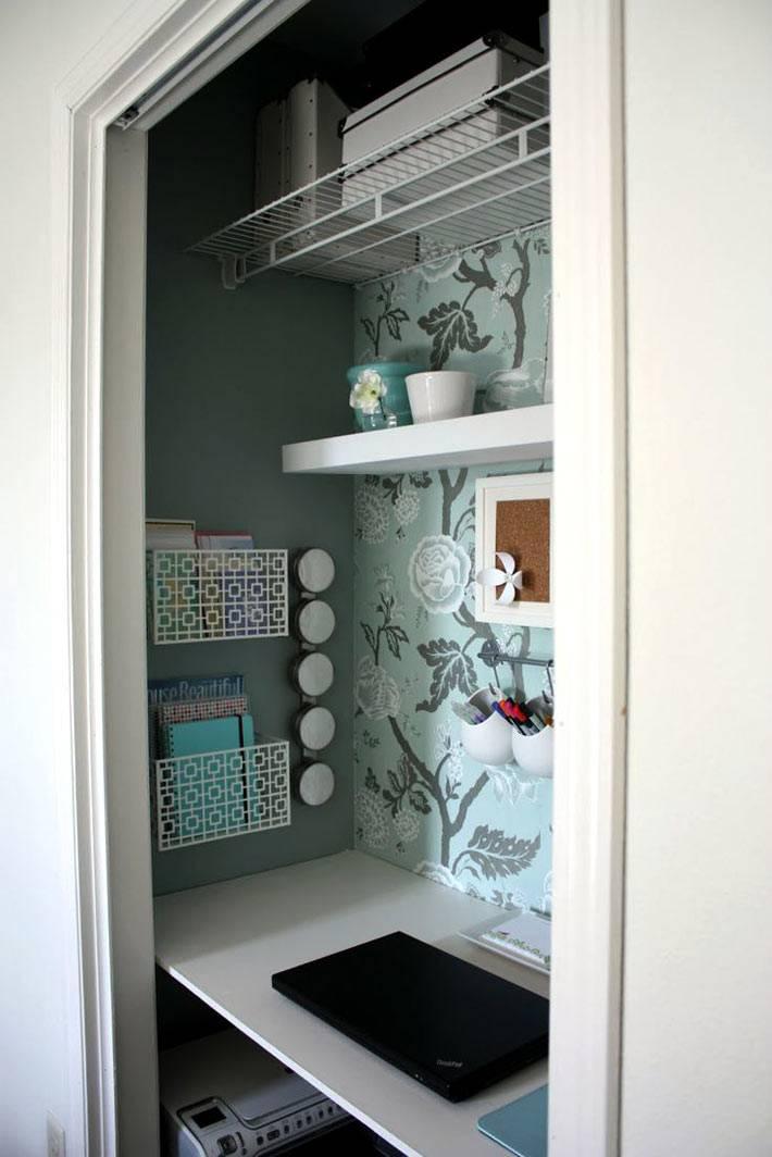 удобный домашний офис в нишевом шкафу