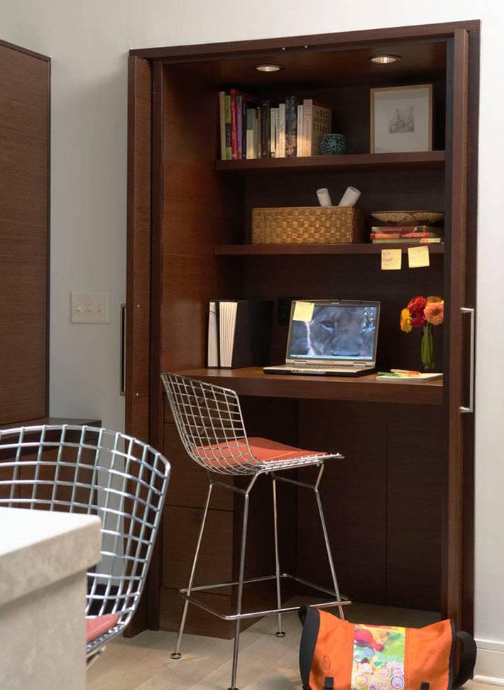 деревянный шкаф с рабочим домашним офисом