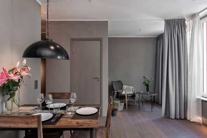 Квартира в Швеции в темно-серых тонах фото
