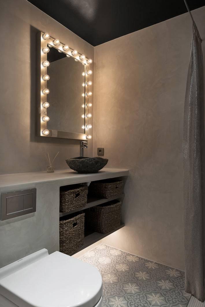 Плетеные корзины для хранения в ванной комнате фото