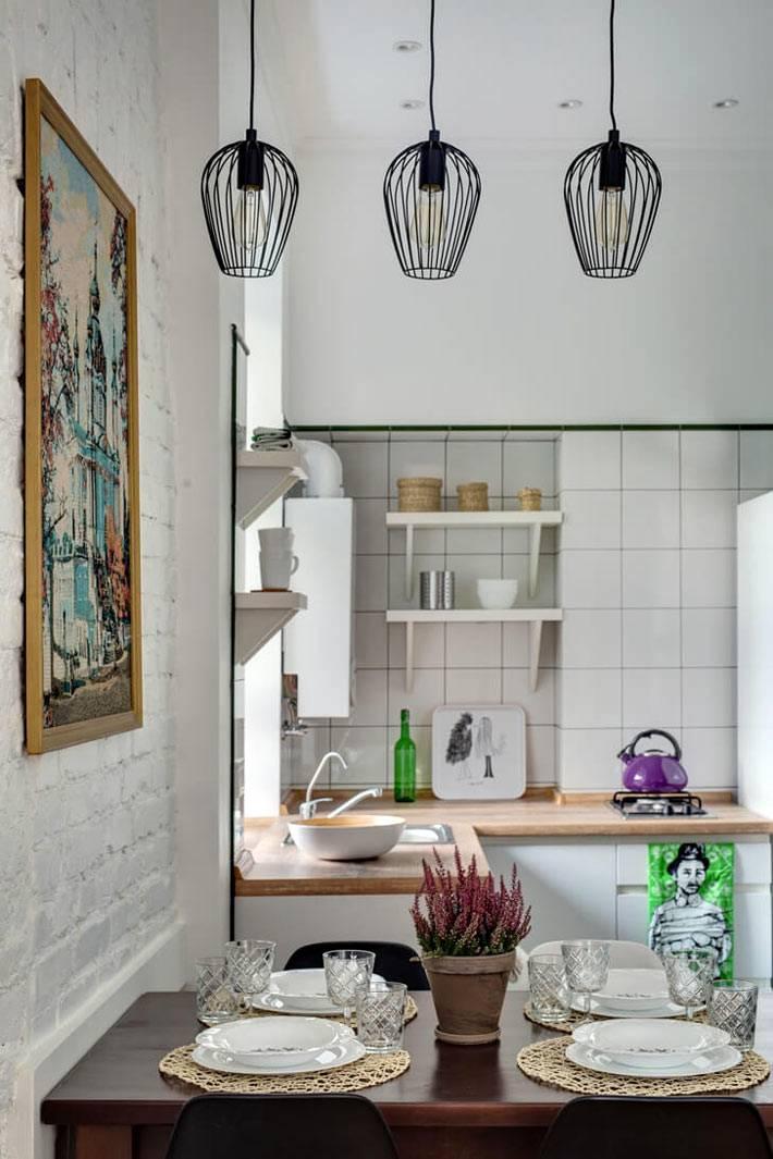 Кухонная зона в квартире-студии фото