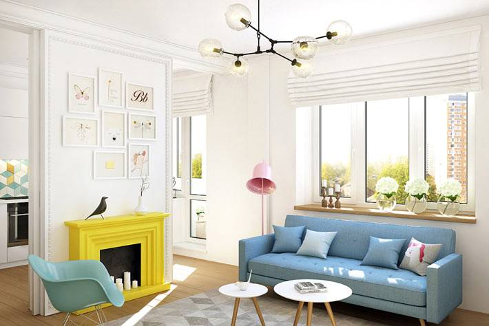 Красивый светлый интерьер однокомнатной квартиры фото