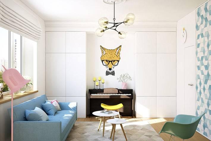 Дизайн однокомнатной квартиры с роялем для девушки фото