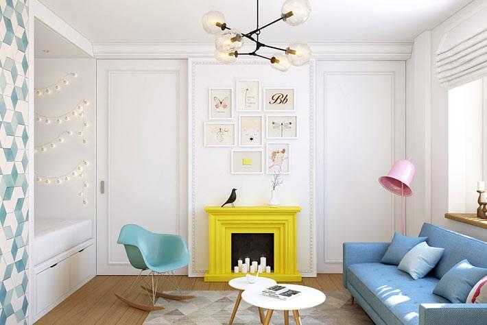 Разноцветные акценты в дизайне однокомнатной квартиры фото