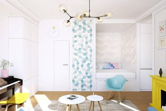 Кровать в нише однокомнатной квартиры фото