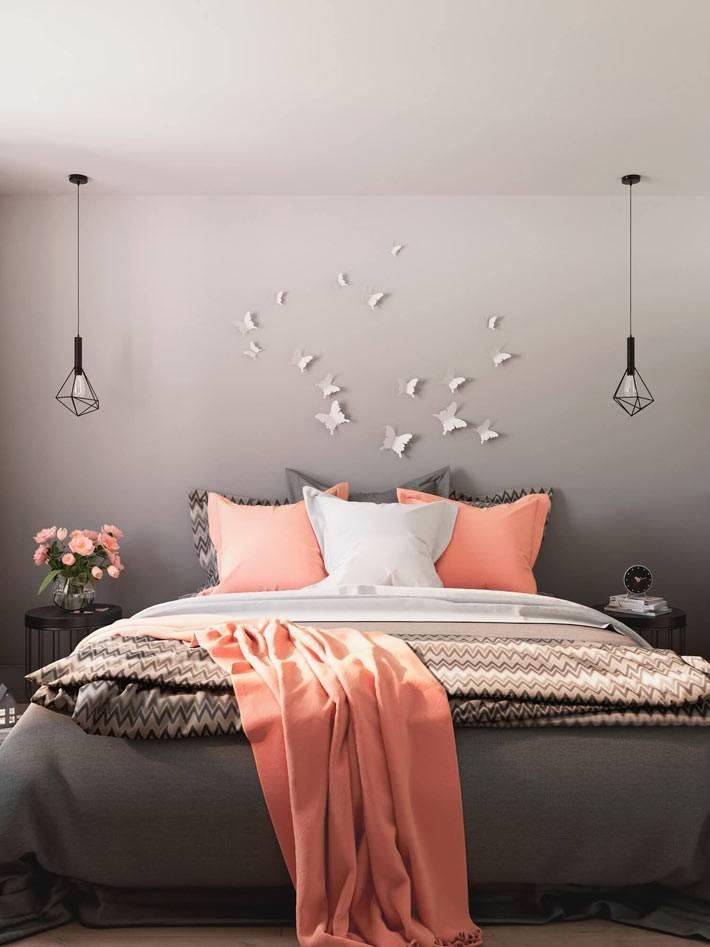 Серый цвет в интерьере спальни с яркими акцентами фото