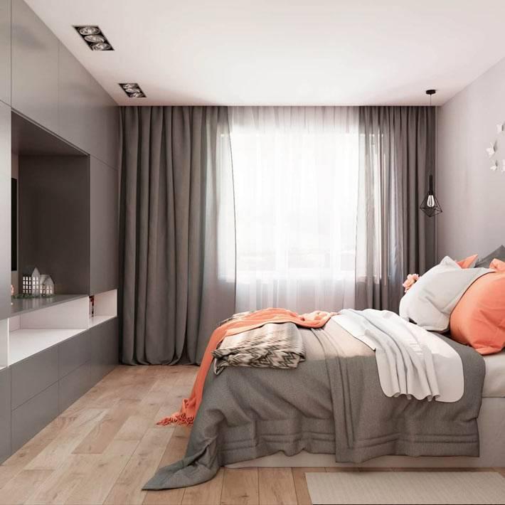 Красивый дизайн спальни с преобладающим серым цветом фото