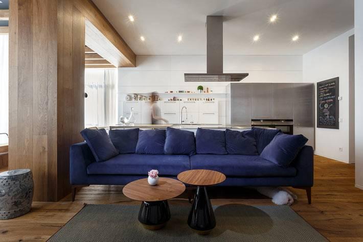 Синий диван в дизайне гостиной комнаты квартиры фото