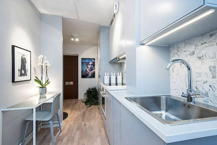 Однококмнатная квартира-студия с совмещенной кухней фото