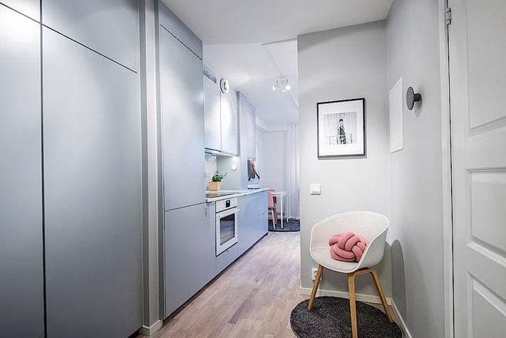 Пастельный голубой цвет в интерьере однокомнатной квартиры фото