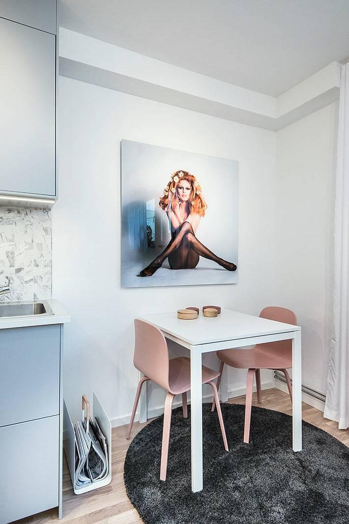 Обеденная зона на маленькой кухне фото