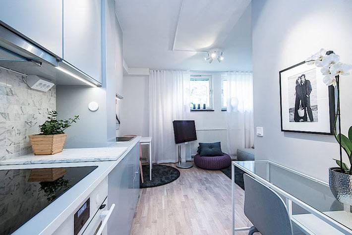 Вид из кухни на зону для отдыха в гостиной фото
