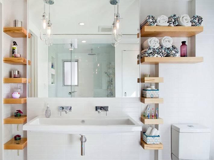 Деревянные полки для хранения мелочевки в ванной комнате фото
