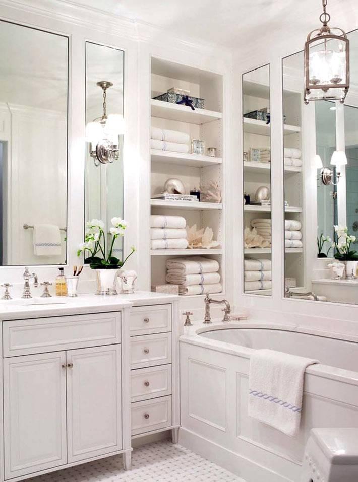 Хранение в ванной комнате на открытых полках и в закрытых ящиках фото