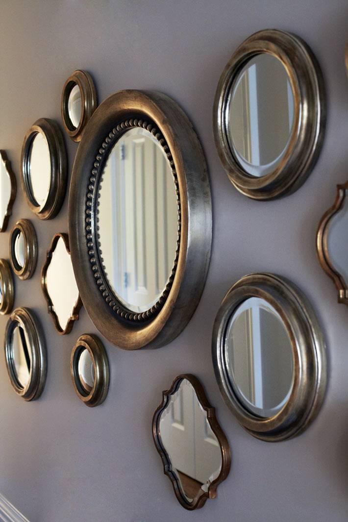 Россыпь круглых зеркал на стене для украшения дома фото