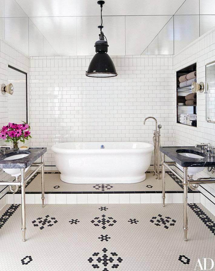 Очень красивый дизайн ванной комнаты в доме Мег Райан фото