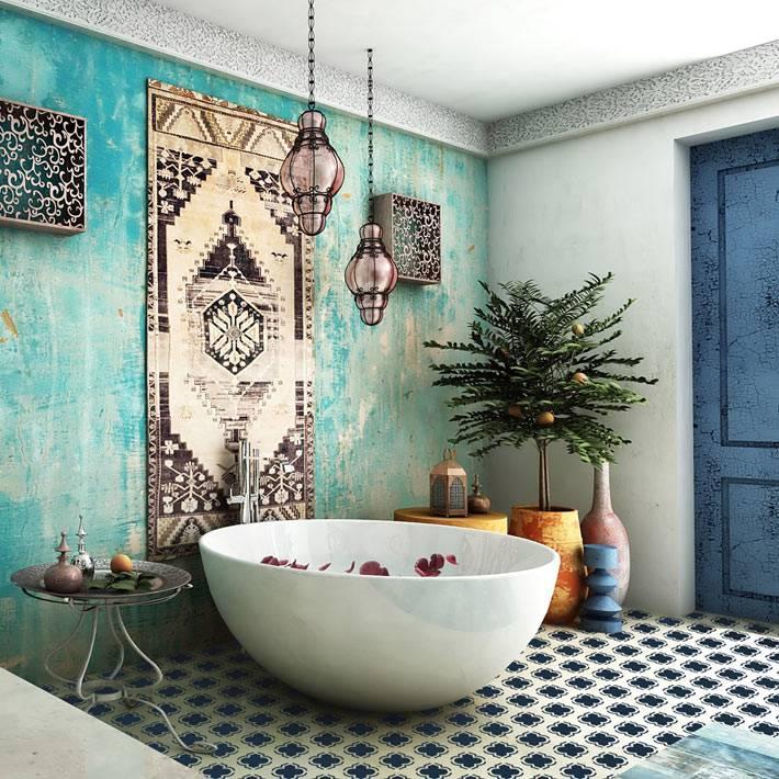 Ретро шик в марокканском дизайне ванной комнаты фото