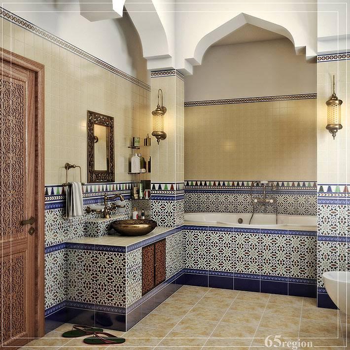 Болая ванная комната, оформленная с элементами марокканского стиля фото
