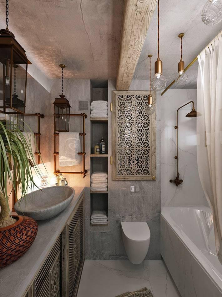 Атмосферный дизайн ванной комнаты с использованием натуральных материалов фото