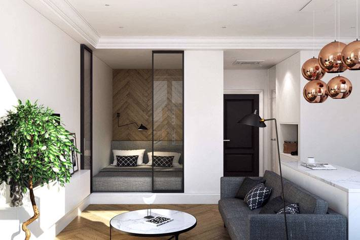 Дизайна интерьера квартиры 36 квадратных метров от мастерской Geometrium.com фото