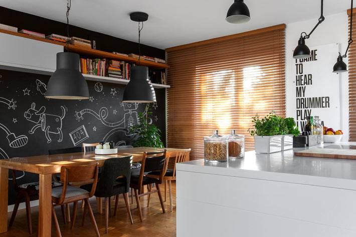 Грифельная стена в дизайне интерьера кухни фото