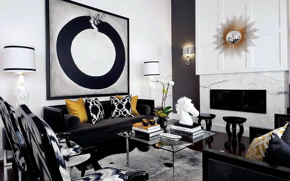 Интерьер гостиной комнаты в черно-белой гамме от Atmosphere Interior Design фото