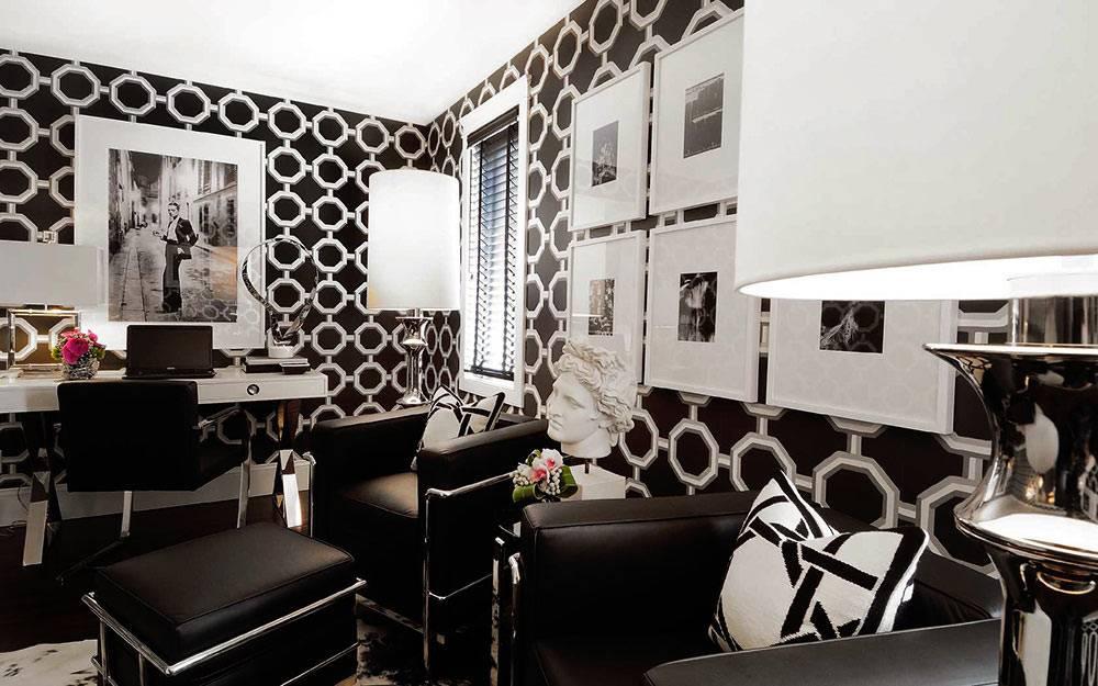 Дизайн интерьера кабинета с черными обоями и белым декором фото