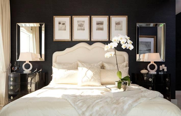 Кремовая кровать на фоне черной стены в дизайне спальни фото