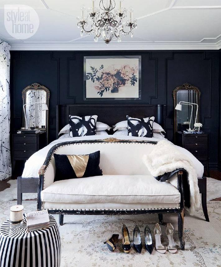 Классическое черно-белое сочетание красок в спальной комнате фото