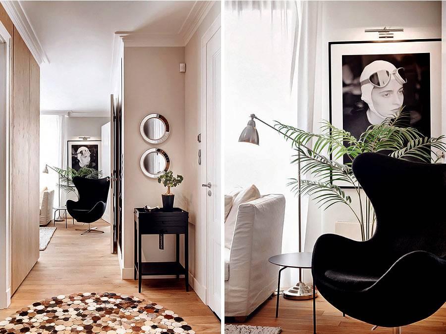 Хромированные аксессуары и кресло в форме эллипса в дизайне квартиры фото