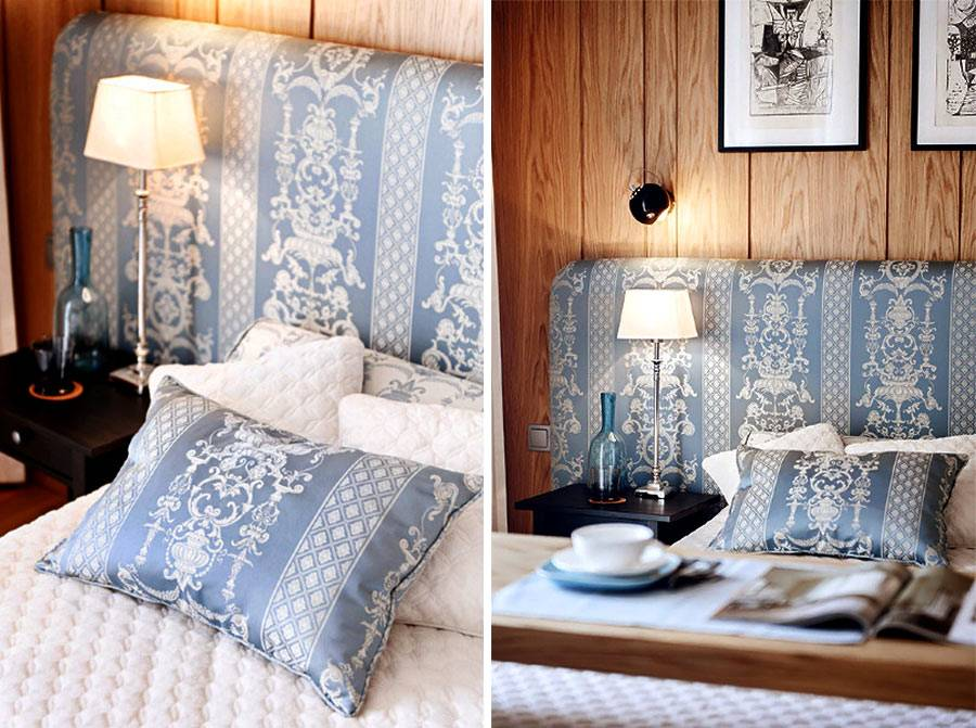 Изголовье кровати и подушки сшиты из одинаковой ткани для большей гармони в интерьере спальни фото