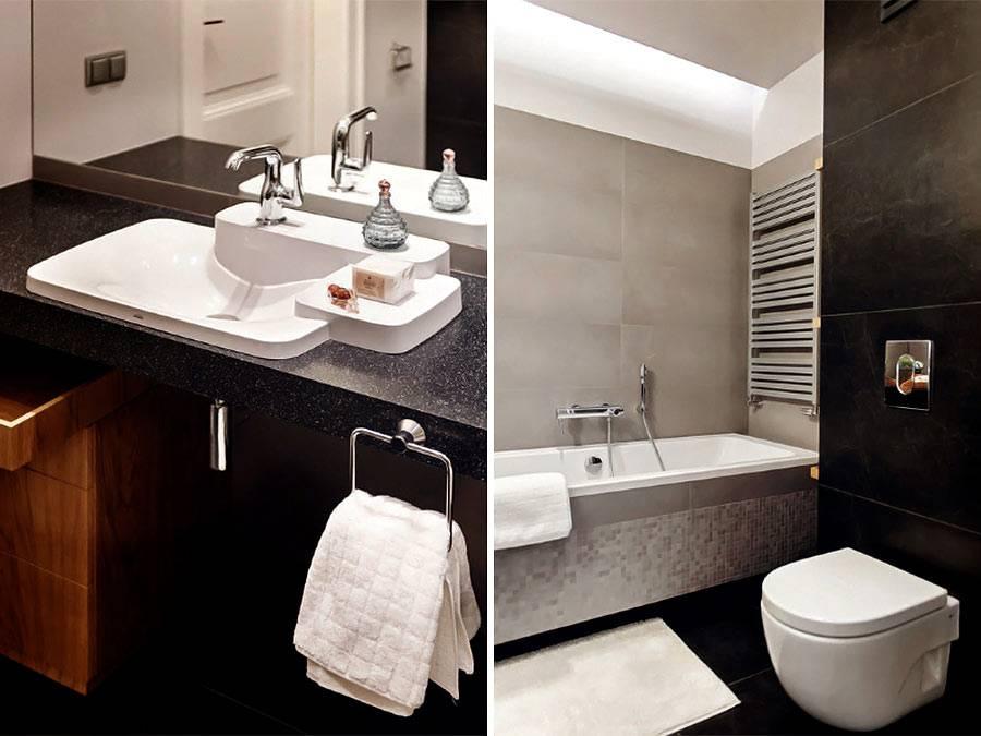 Дизайн ванной комнаты с черным цветом и белой сантехникой фото