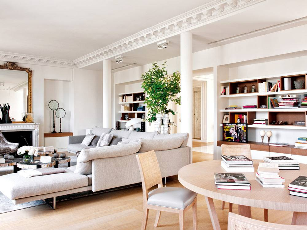 зонирование квартиры на гостиную комнату и столовую фото