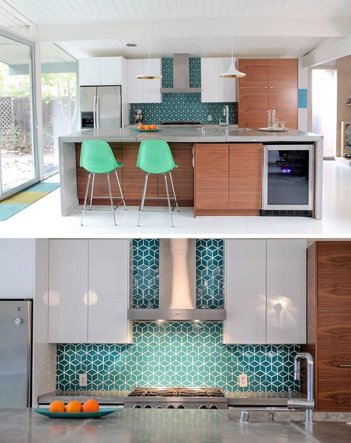 Зеленая плитка с геометрическим узором для кухонного фартука фото
