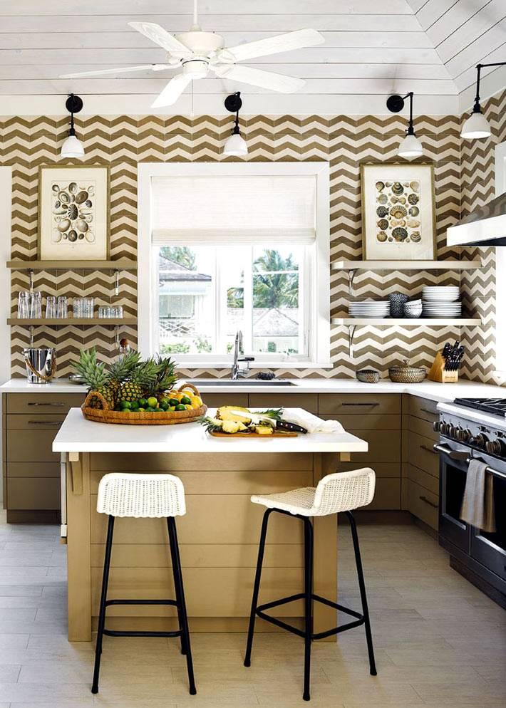 Коричневый зигзак на стенах кухонного интерьера фото