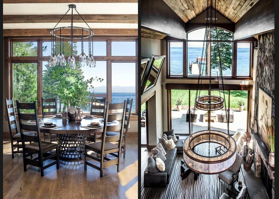 интерьер столовой комнаты с видом на красивое озеро фото