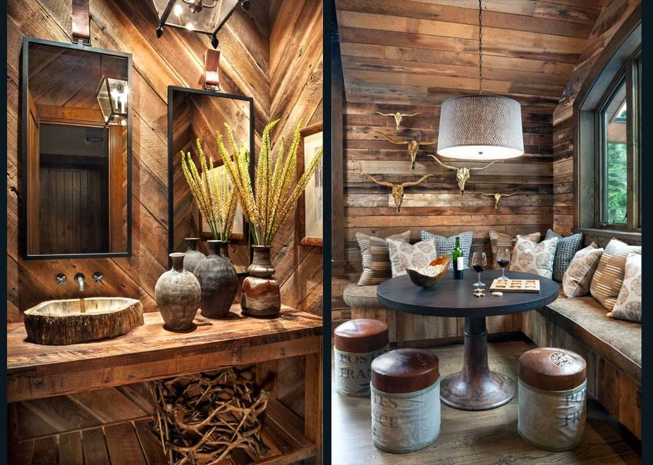 Деревянные стены в отделке ванной комнаты и обеденной зоны фото
