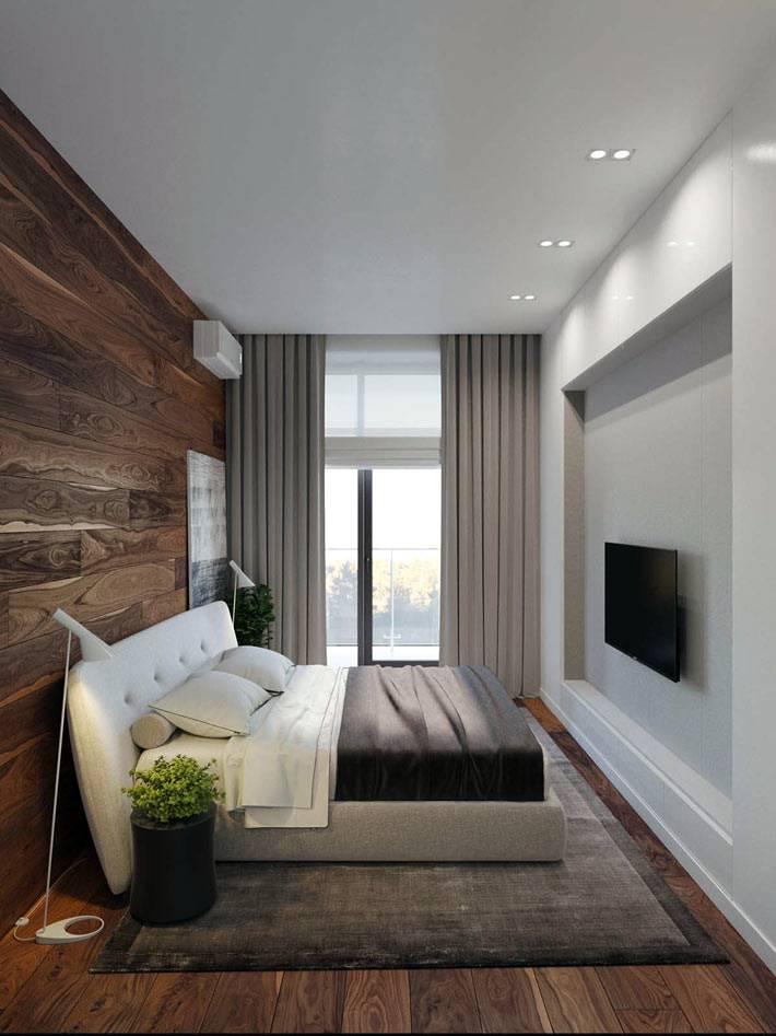 стена из паркетный досок в интерьере спальни фото