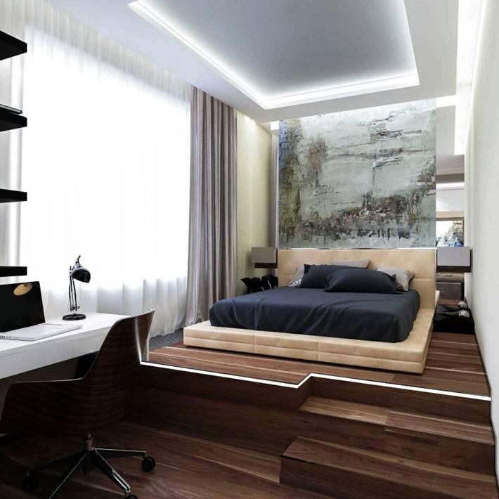 подиум в спальне разделяет рабочее пространство