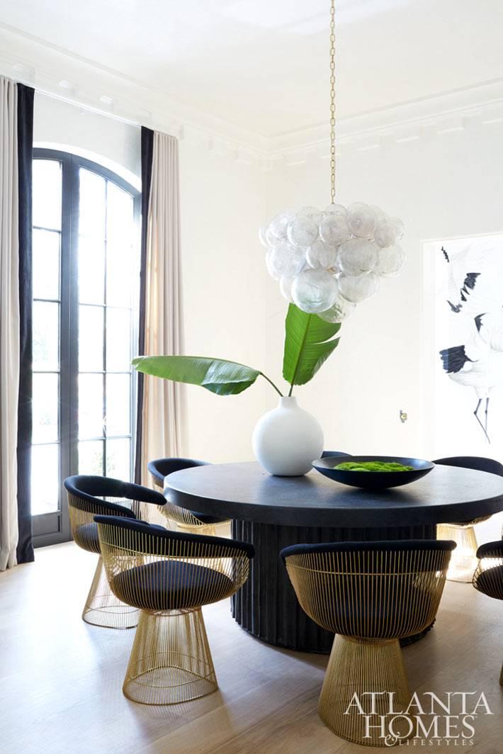 круглый черный обеденный стол с черными стульями