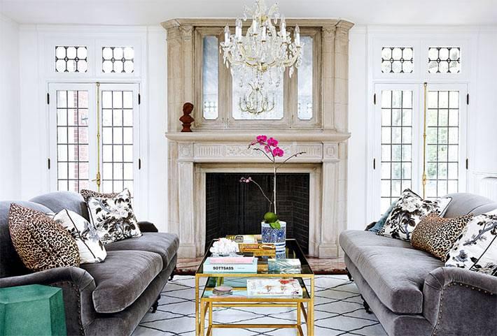 Гостиная комната с камином и серыми диванами фото