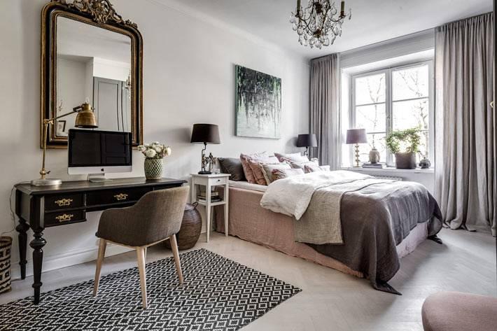 интерьер спальни в серых тонах с рабочим местом фото