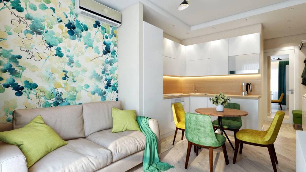 зеленый, желтый и серый - основные цвета гостиной