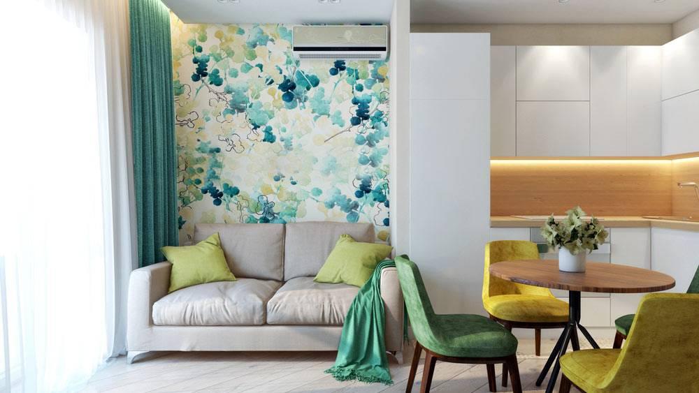 Раскладной диван в интерьере однокомнатной квартиры фото