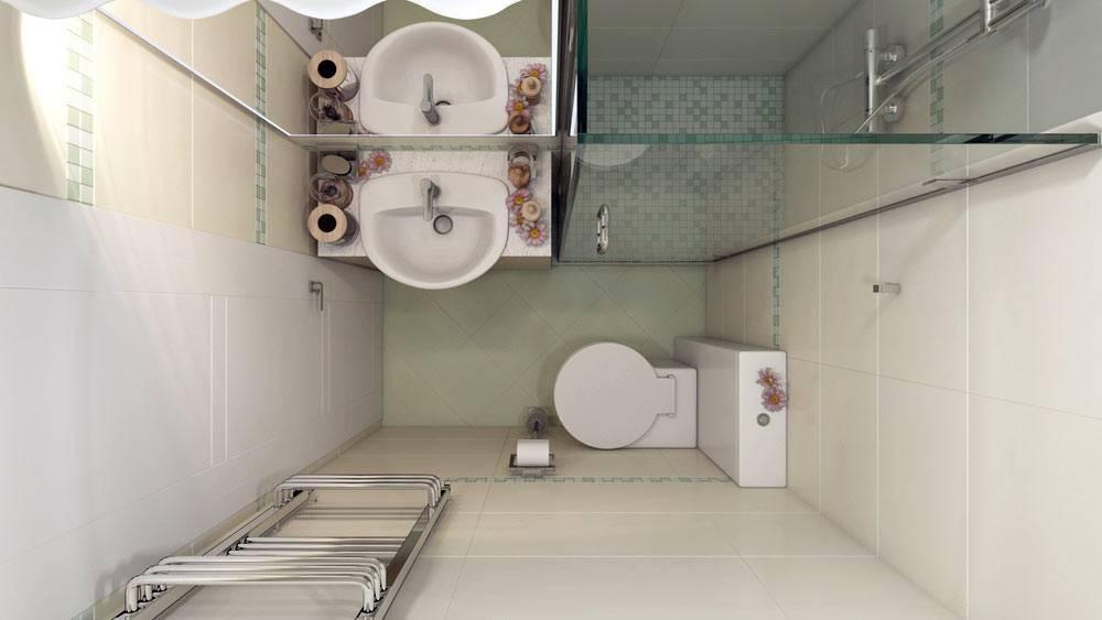 Унитаз, раковина и стеклянная душевая в меленьком интерьере ванной
